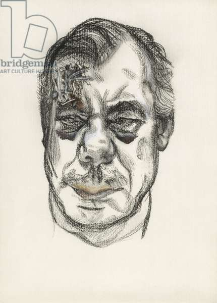 Man with Head Wounds, 1981 (charcoal and crayon)