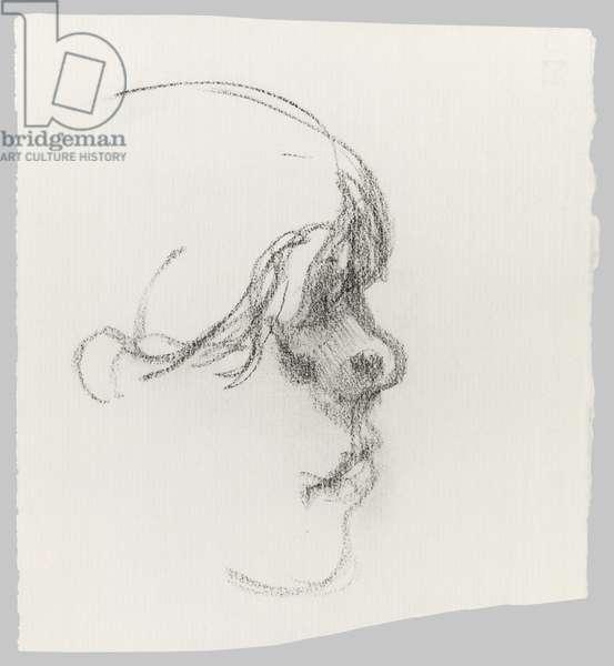 Profile, Head, c.1990 (pencil on paper)