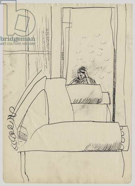 Self Portrait with Hand Held Up, c.1970 (ink on paper)
