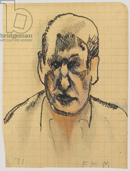 Self-portrait, 1971 (ink on grid paper)