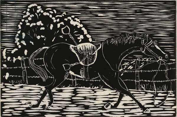 Runaway Horse, 1936 (linocut)