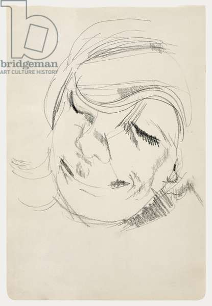 Head of a Woman Laughing, 1954 (crayon on paper)