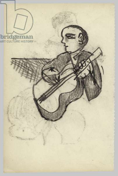 Musician at the Wigmore Hall, 1940s (crayon on paper)