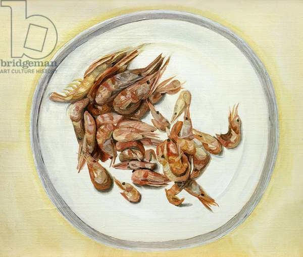 Plate of Prawns, c.1958 (oil on canvas)