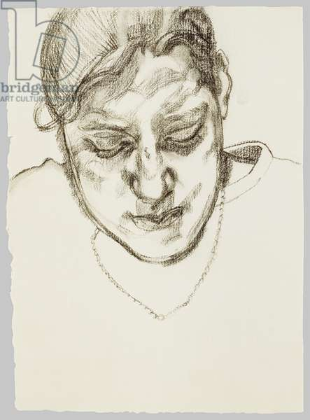 Girl with Necklace, 1980 (charcoal)