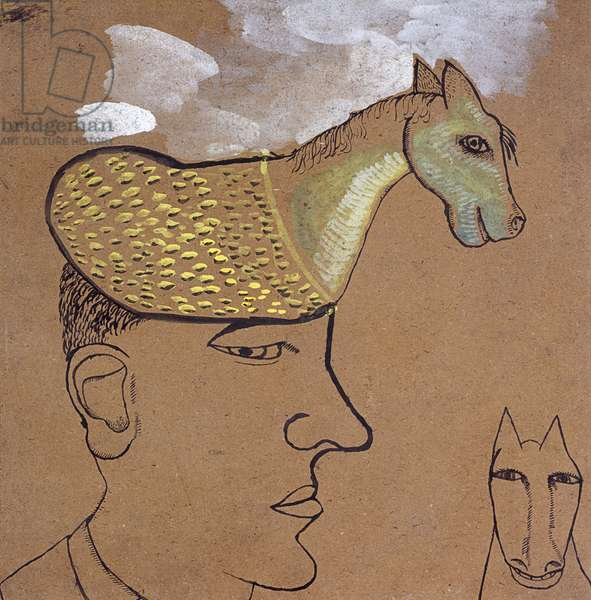 Man with a Horse on his Head, 1939 (ink, pencil & gouache on paper)