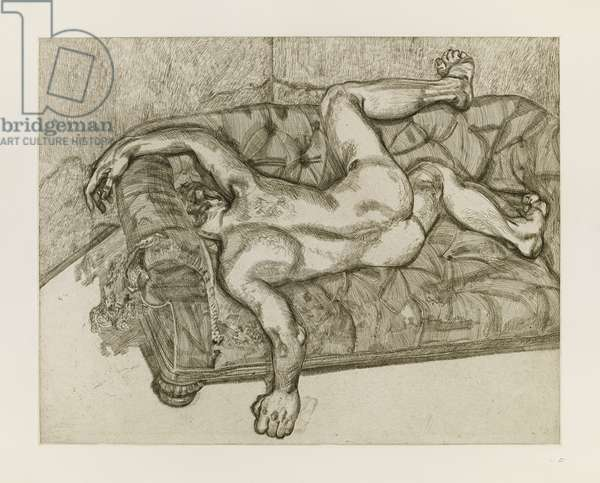 Naked Man on a Sofa, 1986 (etching)