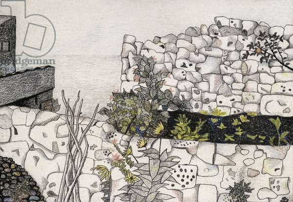 Seaside Garden, 1944 (ink and crayon)