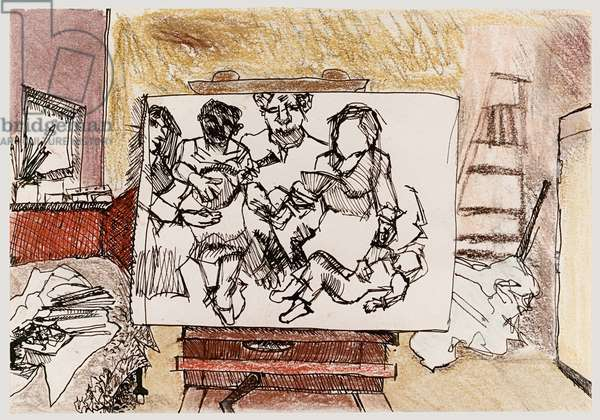 After Watteau, 1983 (pen, coloured crayon & wash on paper)