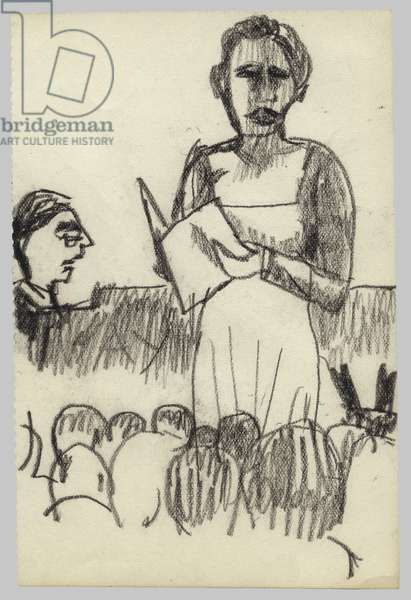 Singer at the Wigmore Hall, 1940s (crayon on paper)