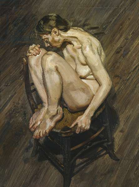 Naked Girl Perched on a Chair, 1994 (oil on canvas)