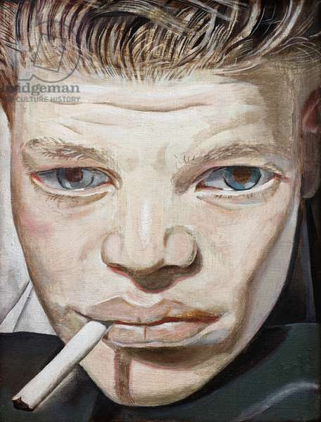 Boy Smoking, 1950-51 (oil on copper)