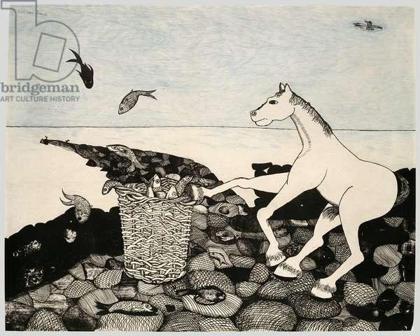 Horse on a Beach, 1944 (colour litho)
