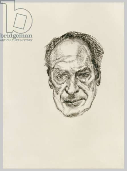 Head of a Man, 1990 (charcoal on paper)