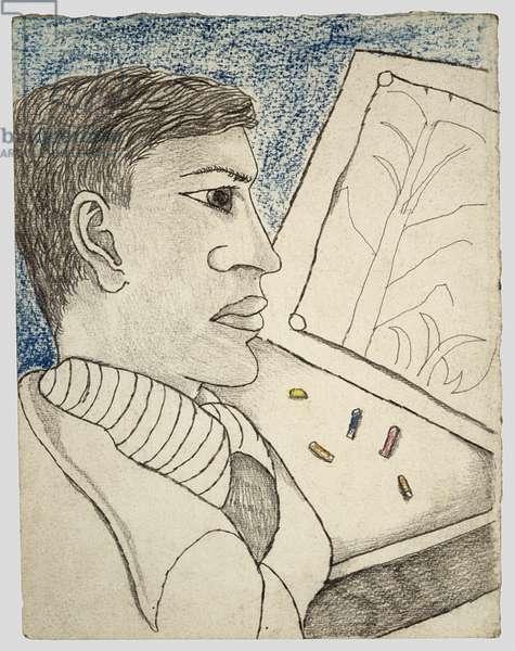 Man with Coloured Crayons (John Craxton) 1944 (charcoal and crayon)