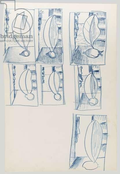 Greek Sketchbook: Studies of Still Life with Green Lemon, 1946-47 (crayon on paper)