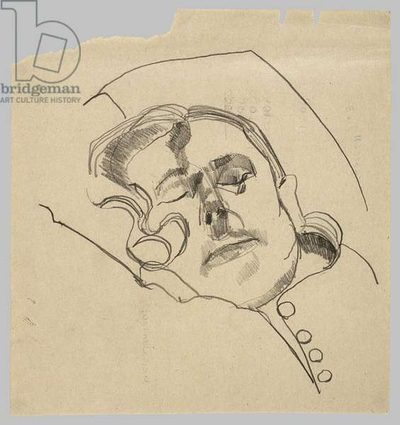 Woman with Eyes Closed, c.1973 (pencil on paper)