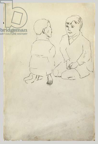 Two Boys Kneeling and Facing, 1941 (pen & ink on paper)