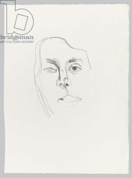 Head of a Woman, 1975 (pencil on paper)