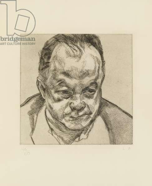 Head of Bruce Bernard, 1985 (etching)