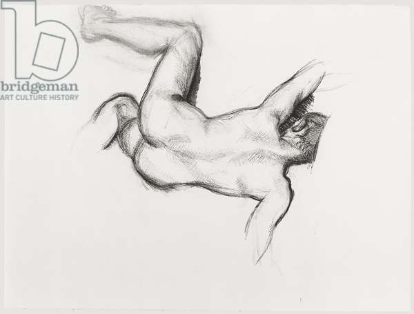 Study for 'Naked Man on a Sofa', 1986 (charcoal on paper)