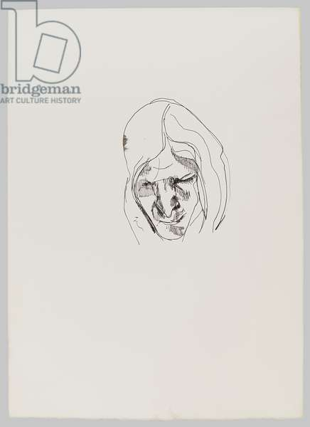 Drawing of a Woman Looking Down, 1970s (ink on paper)