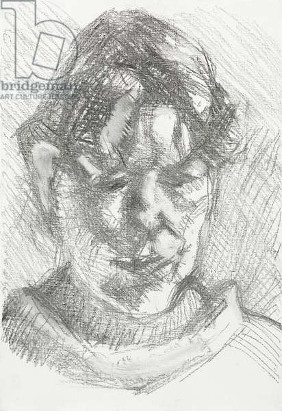 Dark Haired Neighbour, 2011 (charcoal on primed canvas)