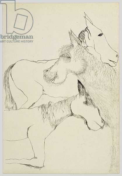 Three Horses (Part2), 1940 (ink on paper)