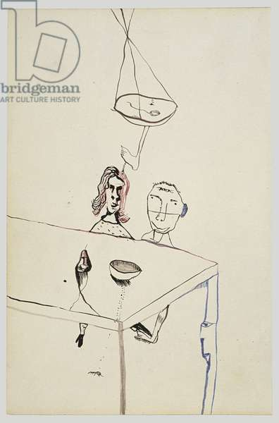 Couple at Table, 1940 (ink on paper)