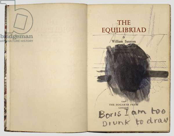 Boris I am too drunk to draw, 1948 (ink on book page)