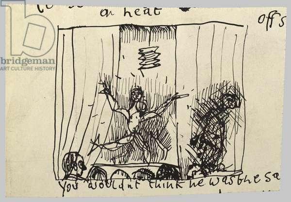 Sketchbook Drawing of a Dancer, c.1945 (ink on paper)