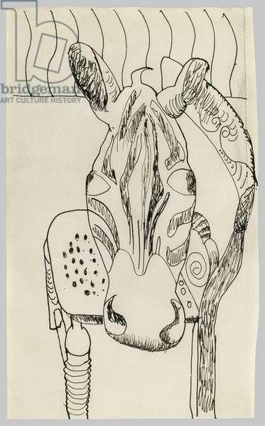 Zebra Head on a Chair, 1944 (pen & ink on paper)