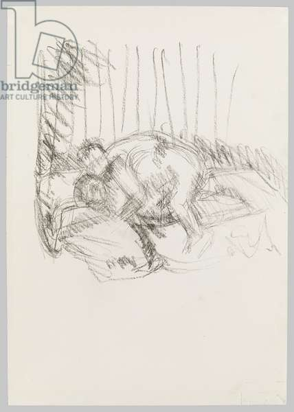 Drawing of Francis Bacon's 'Two Figures, c.1998 (charcoal on paper)