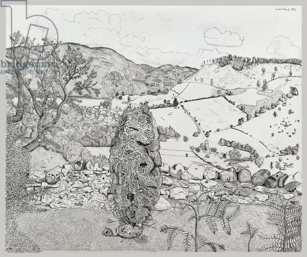 Lochness from Drumnadrochit, 1943 (pen & ink on paper)