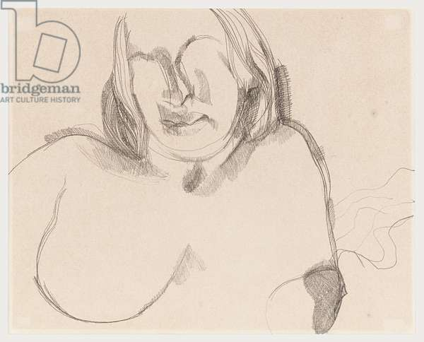 Head and Shoulders of a Girl, 1977 (pencil on paper)