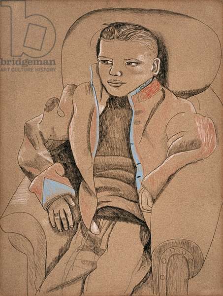 Boy in Red and Blue Jacket, 1945 (pastel on paper)