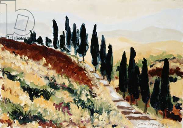 Where do These Cypress Trees Lead, 1993 (oil on canvas)