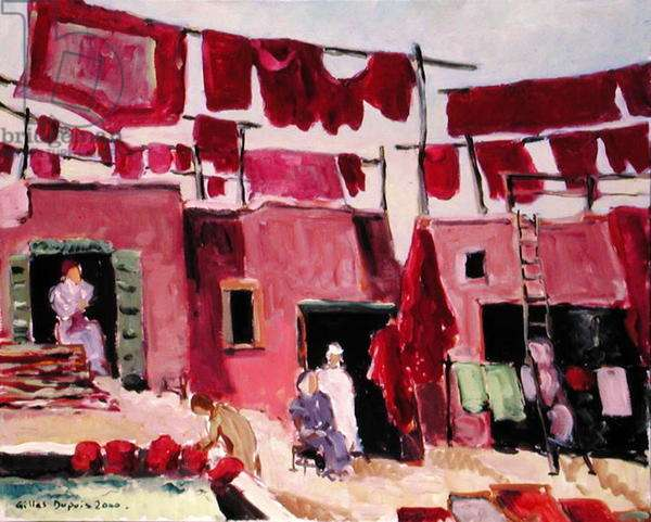 Dyers in Marakesh, 2000 (oil on canvas)
