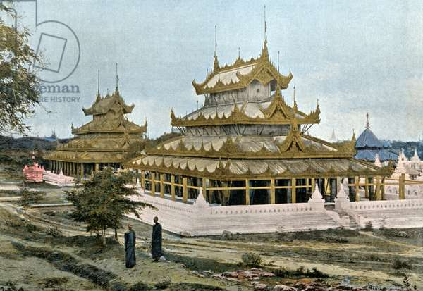 Pagodas at Mandalay, Burma, engraved by Gillot, c.1900 (photogravure)