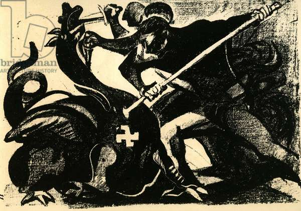 Forever Resistants fighting against the German Dragon Lithography attributed to Edouard Pignon extracted from Defeating Testimoignages des Paintres Français published clandestinely in June 1944 by Le Front National des Paintres for the benefit of the Franc shooters and party