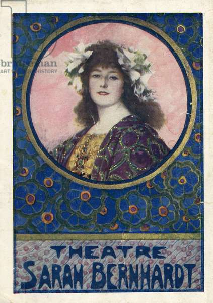 Portrait of Sarah Bernhardt 1844 1923 on the program cover of Maurice Rostand's The Glory in 1922