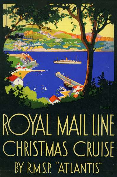 Brochure of the British shipping company Royal Mail Line for Mediterranean Sea cruises on the liner Atlantis departing Southampton circa 1935