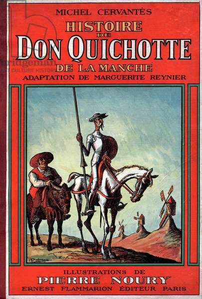 "Cover of book ""Histoire de Don Quichotte de la Manche"" (Don Quixote of La Mancha) by Miguel de Cervantes, French edition, 1933, illustrations by Pierre Noury"