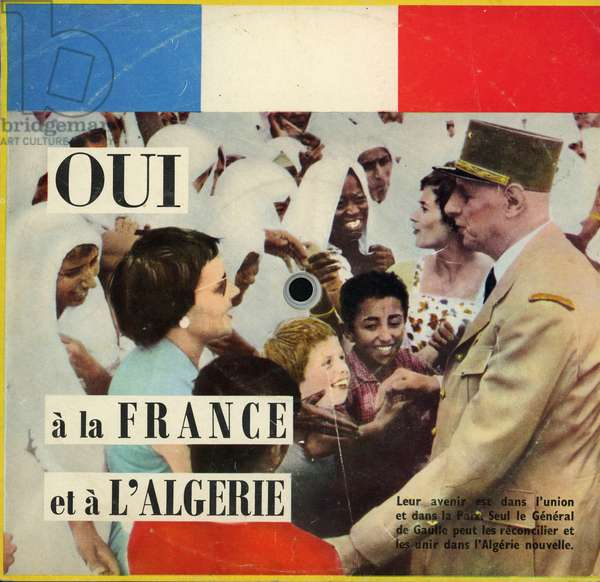 Yes to France and Algeria album cover reproducing the speech of General De Gaulle on December 20, 1960