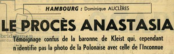 Anastasia Case Anderson Article published in Le Figaro, 24 May 1958