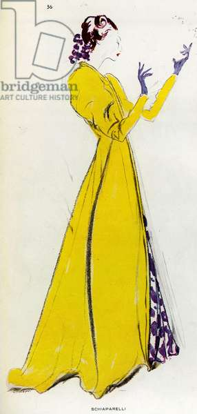 Model Schiaparelli by the French painter Jean Gabriel Domergue 1889 1962 Drawing published in the magazine Plaisir de France in 1936