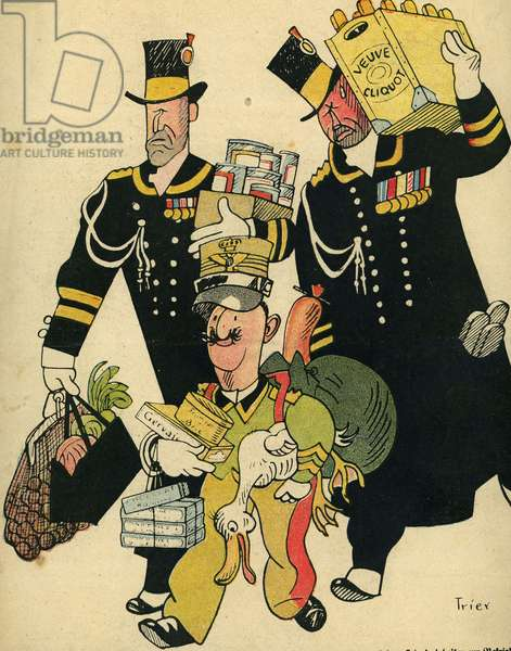 Visit to France of the King of Italy Victor Emmanuel III September 1917 drawing of Trier German cartoon