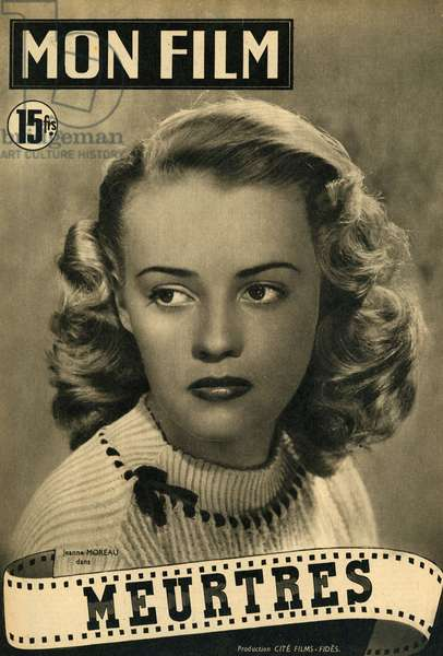 Jeanne Moreau French actress 1928 2017 in Murders film by Richard Pottier 1951 cover of the magazine Mon Film