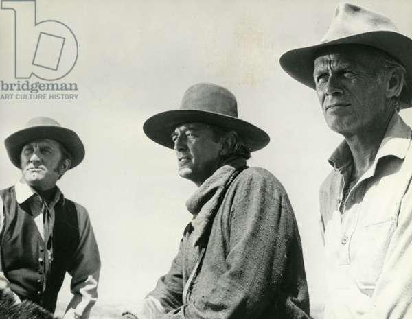 Kirk Douglas Robert Mitchum and Richard Widmark in The Way West The West Road American film by Andrew McLaglen in 1967