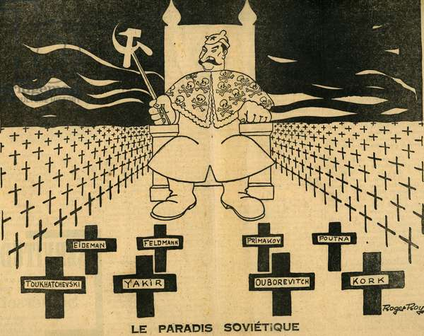 Sovietic paradise Stalin drawing by Roger Roy in the newspaper Gringoire June 1937